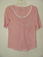 Old Navy Women's Top Shirt Size Small S White Red Striped 3/4 Sleeve