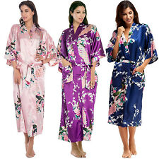 Women's Long Silk Bridal Robe Satin Silky Night Gown Bathrobe Bridesmaid Kimono
