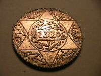 1320 Morocco 5 Dirhams Ch XF+/AU French Moroccan Africa Silver Maroc World Coin