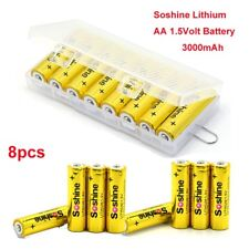 8pcs Soshine Capacity 3000mah 1.5volt AA One Time Battery Durable Storage Case