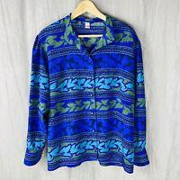 VINTAGE Indigo Blue Multi Abstract Retro SIZE 20 UK Funky Long Sleeve Blouse V1