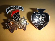 Set Of 2 US Army Special Forces AIRBORNE SKULL Lapel Pins With Clutchback Pins