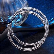 """Awesome New Large Silver Plated Textured Band 60mm / 2.25"""" Round Hoop Earrings~"""