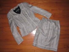 Vtg Escada Margaretha Ley Scalloped Piping Trim Skirt Suit 38 36
