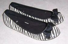 REPORT Kiss Womens Size 6M Black & White Zebra Print Ballet Flats Slip On Shoes