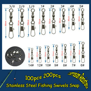 Stainless American Fishing Swivels Snap Rolling Interlock Sea Connector Tackle