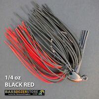 Bassdozer PUNCH 'N FLIP jig. 1/4 oz BLACK RED weedless bass fishing jigs lures