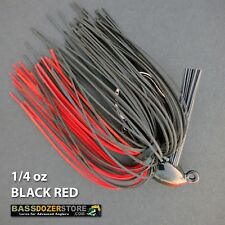 Bassdozer PUNCH 'N FLIP jig. 1/4 oz BLACK RED weedless bass fishing jigs lures