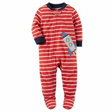 Carter's Boy's Red Striped Space Rocket Fleece Footed Pajama Sleeper, Size 2T