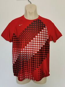 Men's Red Short Sleeved Sports Gym Top Nike Dri-Fit Size Small Exc Cond