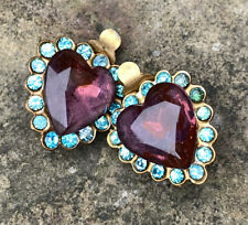 Clip on Brass Earrings with Amethyst Paste Hearts Aquamarine Glass Stones Vintag