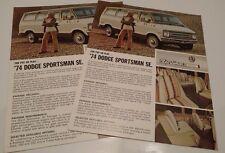 Two DODGE 1974 SPORTSMAN ROYAL VAN BUS WAGON SALES BROCHURE