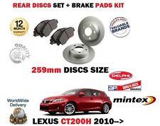 pour Lexus CT200h 1.8 Hybrid 2010- > Disque de frein arrière (259mm) Set +