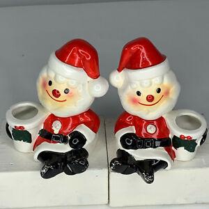 Set of 2 Holt Howard Santa taper candle holders