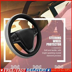 Car Steering Wheel Protector Cover Crystal Sparkled Diamond Leather Skidproof