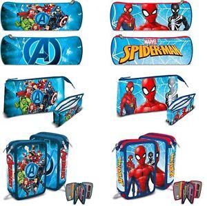 Boys Kids Marvel Avengers Spiderman Character Pencil Case Triple Case