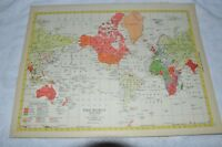 1952 Map of The World 1919-1938 - Map of The Discovery Of America On Reverse