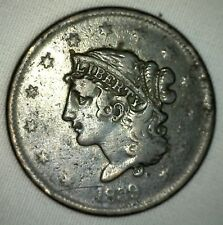 1839 Coronet Large Cent US Copper Type Coin Very Fine m9 VF