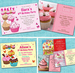 Personalised Girls Kids Childrens Cupcake Birthday Party Invitations Invites