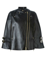 New Genuine Leather Biker Style Cape Top Cloak Jacket Suit Lined Women Chic Sale
