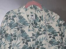 Brigata Ivory & Teal Flowered Silk Short Sleeved Shirt - Men's Size Large - NWOT