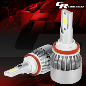 2 PCS 6000K H8 WHITE LED HIGH/LOW BEAM HEADLIGHT REPLACEMENT BULBS +COOLING FAN