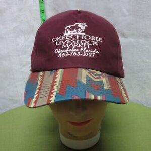 OKEECHOBEE LIVESTOCK MARKET baseball hat embroidery FLA southwestern cattle cap