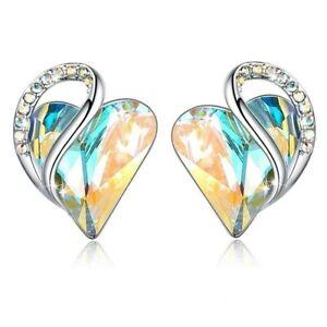Fashion Silver Love Heart Zircon Stud Earring Party Wedding Jewelry Gifts