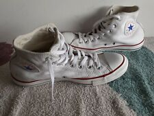 Mens Leather Converse All Star High Tops Size UK 9 - White  Used