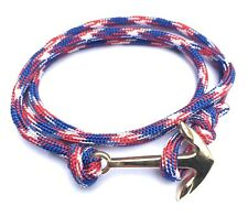 Stainless Steel Anchor Bracelet Rope Paracord Wrap Around Surfing Nautical Surf
