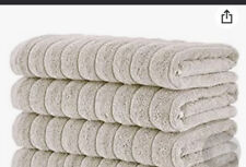 Classic Turkish Towels Turkish Cotton Ribbed Bath Hands in Taupe color Set of 5
