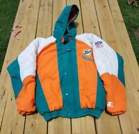 Vintage Starter 90s NFL Miami Dolphins Puffer Hoodie Full Zip Jacket Sz S VTG