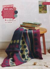 BRITISH BLUE FACED LEICESTER WOOL COSY SPOTTY BLANKET/THROW KNITTING PATTERN