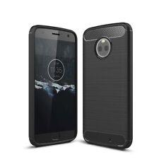 Motorola Moto X4 Handy Hülle TPU Case Carbon Fiber Schutz Cover Bumper Schwarz