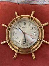 Lacquered Brass Ship'S Time Quartz Clock With Beveled Glass.(Made In India)