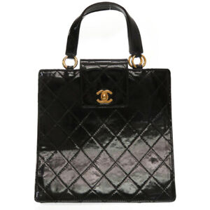 Auth CHANEL Quilted Matelasse Hand Bag Patent Leather Black color U1001EPG5