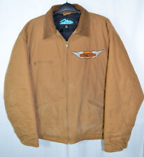 Tri-Mountain Canvas Jacket Brown Quilted Lining Harley-Davidson Patch Men's XL