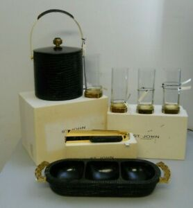St. John's Home Croco Black Wood Gold Stone Inlay Ice Bucket Bar 7 PC Set