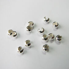 100 Pcs 3mm solid 925 sterling silver round CRIMP BEAD COVER