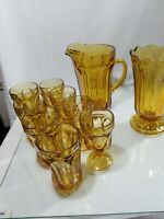 Indiana Depression Glass Amber Pitcher And Cups With Vase Mid Century Modern