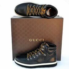 GUCCI New sz 9 G US 9.5 Auth High Top Designer Mens GG Sneakers Shoes black
