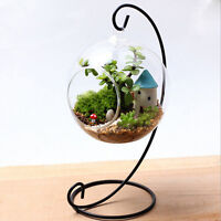 Iron Creative Candlestick Glass Ball Hanging Holder Candle Stand Light Holder.
