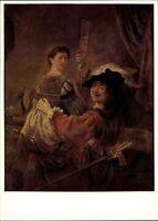 Künstlerkarte Verlag der Kunst Dresden Maler Rembrandt Selbstbildnis mit Saskia