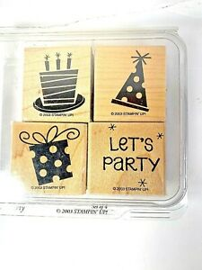 LETS PARTY Stampin' Up Set of 4 Wood Mounted StampsCake Presents Hat