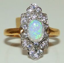 ART DECO STYLE 9CT GOLD ON SILVER OPAL CLUSTER  STATEMENT RING SIZE Q 1/2