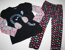 BABY GAP True Color Headphone Applique Top and Leggings Outfits Set Girl Size 5