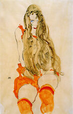 Egon Schiele Reproductions: Woman with Flowing Blond Hair - Fine Art Print