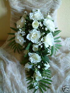 Designer Wedding Flowers - Ivory Rose and Fern Bouquet