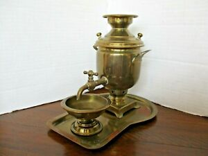 "Antique Small 7"" Russian Brass Maker Stamped Tea Dispenser w/ tray + Cup LOVELY!"