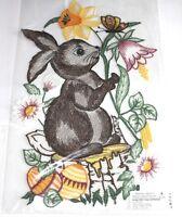 Plauener Spitze sehr großes Fensterbild Osterhase Eier Blumen mehrfarbig 21x34cm